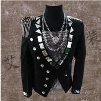 Wholesale european clothing men jacket - men suits designs black lenses stage singers men sequin blazer dance tassel badge clothes jacket style dress punk rock european
