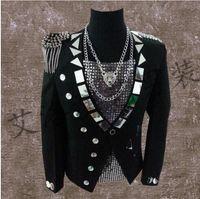 blazer for dress toptan satış-Erkekler suits tasarımlar siyah lensler sahne şarkıcılar erkekler pullu blazer dans püskül rozeti giysi ceket tarzı elbise punk rock avrupa