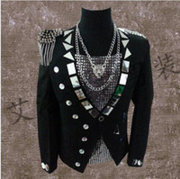 Wholesale singer dance clothing - men suits designs black lenses stage singers men sequin blazer dance tassel badge clothes jacket style dress punk rock european