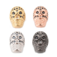Wholesale Nickel Free Charms Wholesale - Top Quality Skull Spacer Beads Nickel Free, Lead Free 4 Color ICYS015 Size 8.8*6.7mm