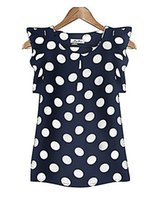 Wholesale Translucent Sleeve Blouse - Women's Casual Daily Plus Size Simple Summer Blouse,Polka Dot Round Neck Short Sleeve Polyester Translucent