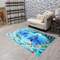 Wholesale European Floor Rugs - Welcome Floor Mats Flower Fish 3D Printing Bathroom Kitchen Carpets House Doormats for Living Room Anti-Slip Tapete Rug MFLC021