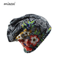 Wholesale Beanie Women - Miaoxi New Women Hat Polyester Adult Casual Floral Women 'S Hats Spring Autumn Two Used Female Cap Scarf 3 Colors Fashion Beanies