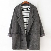 Wholesale Type Women Blazer - New version of retro atmosphere and loose double breasted suit jacket type girls long turn down collar pockets grey blazers