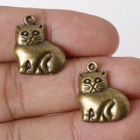 Venda por atacado de moda 16 * 19 milímetros 8pcs / lot encantos de liga de zinco Antique Bronze Plated Cat Charms Pendentes Metal Jewelry Findings Fit DIY