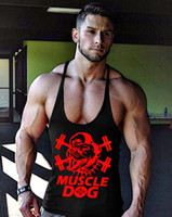 Wholesale Dog Clothes Superman Xl - Plus Size M-XXL New Summer 2017 Clothing muscle dog Tank Top LIFT Word superman Men Fitness Sleeveless Shirts Muscle gymTops free ship