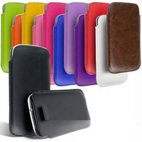 Wholesale Galaxy S4 Pull Tab Leather - S5 5S For Galaxy S5 S4 Note3 Pull-Tab Strap PU Leather Case Cover Skin Pouch Holster for Apple Iphone 4 5 5S 5C High Quality