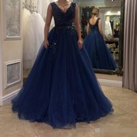 Wholesale Long Sparkly Beaded Prom Dresses - Dark Navy Deep V Neck Sparkly Sequins Prom Dresses 2017 A Line Tulle Lace Up Back Long Evening Dresses Cheap Formal Party Wear