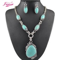 Wholesale Classic Turquoise Necklaces - 2015 Fashion Vintage Necklace Set Antique Silver Turquoise Jewelry Set Dangle Earrings Classic Pendant Design Fine Jewelry Sets