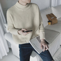 Wholesale Mens Wool Sweater Xxl - Wholesale- 2016 Mens Turtleneck Sweaters Solid green Men's Jumpers Knitted Pullover Male Dress Slim Fit Sweater For Men Plus XXL