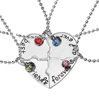 """Wholesale Friends Ever - Wholesale-4pcs set """"best friend forever and ever"""" BFF Friend Necklace Set 4 Pieces Heart Shape Puzzle Hand Stamped Bead Friendship Jewelry"""
