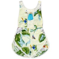 Wholesale Chic Baby Clothes - Floral Baby Girls Romper Festival Tassel Girls Clothing Boho Chic Summer Todler Outfit Pom Girls Playsuit