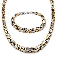 Wholesale Gold Filled Two Tone - Men's Stainless Steel Fashion Style Necklace And Bracelet Link Byzantine Box Chain Set Two-tone Color NB660