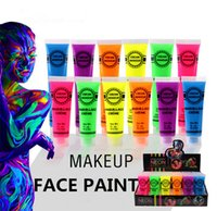 Wholesale ink paintings resale online - Neon UV Bright Face Body Paint Fluorescent Rave Festival Painting ml Halloween professional painting Beauty Makeup