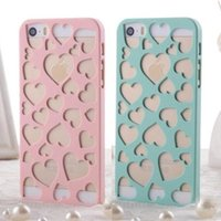 Wholesale Sweet Heart Case Iphone - Korea Style Sweet Heart hard back cover For iphone 5 5s phone case Hollow love Flower candy color ultra-thin protective shell