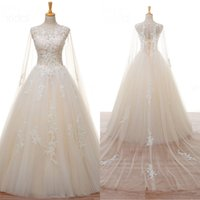Wholesale Cowl Back Lace Wedding Dress - Luxury Lace-up Champagne Cowl Backs Cape Illusion Wedding Dresses Sheer Neck Applique Floor-Length Castle New Tulle Custom Made Bridal Gowns
