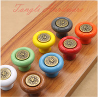 Wholesale Drawers Knobs - White Orange Yellow Gray Red Blue Green Brown ceramic ceramic single knob and handle kitchen cupboard pulls bedroom drawer #48