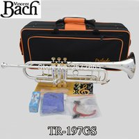 Wholesale Brand New Bach Brass Trumpet TR GS Bb Silver Plated Gold Key Trompeta Profissional Instrumentos Case Mouthpiece