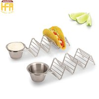 Wholesale Sauce Cups - 23*6*4Cm Food Holder Taco Holder Taco Rack Stainless Steel Taco Stand With Sauce Cup 3 Hard Shell Tacos Wholesale