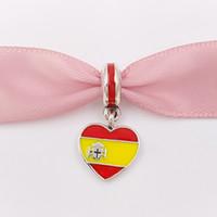 jóias espanha venda por atacado-925 grânulos de prata espanha coração bandeira pingente charme serve estilo europeu de jóias pulseiras colar para fazer jóias 791550ENMX