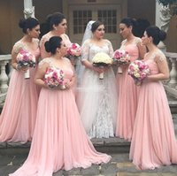 Wholesale Young Girl White Dress - Pink A Line Bridesmaid Dresses Sweetheart Long Chiffon Bridesmaid Gowns For Young Girls with Lace Pleats Wedding Guest Dresses 2017