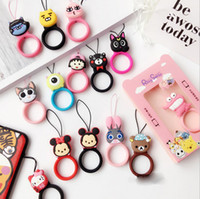 Wholesale Gold Chain Handbag Silicone - Fashion Silicone Charms Cartoon Ring Hook Anti Slip Silicon Strap Key Chain Charms for Handbag Mobile Phone U Disk Gifts Wholesale 100PCS