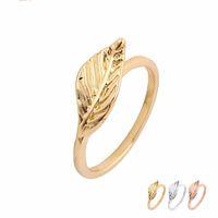 ingrosso grande fascino di foglie-Moda Big Golden Leaf Anelli in oro argento placcato oro rosa semplici gioielli uomini donne gioielli di fascino EFR085 Prezzo fatory