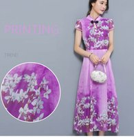 Wholesale 2017 summer new Vintage Floral Chiffon Dress Chinese cheongsam collar short sleeved slim slim big swing skirt