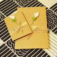 cartões de nota do cumprimento venda por atacado-DIY Kraft artesanal flores secas cartões de presente de Natal cumprimentar cartão obrigado notas aniversário cartões de convite com envelopes de saudação