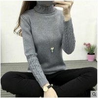 Wholesale Thin Sleeve Tattoo - 2017 autumn and winter new women Korean high-necked sweater women's bottoming tattoo twist sets of thick Slim thin sweater