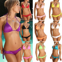 Wholesale Cheap Triangle Swimsuit - 2017 Hot style New summer Sexy women swimsuits Swimsuit sexy lady Triangle bikini Sexy Bandage Candy colors cheap bikini 5pcs