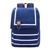 Wholesale Cheap Rucksacks - 2017 New Brand Backpacks Bags For Women Fashion Stripes Print Canvas Rucksack Students School Bags Wholesale Cheap
