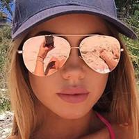 Wholesale glasses for fishing - Wholesale-Women Rose Gold Mirror Aviation Sunglasses Brand Designer New Vintage Retro Sun Glasses For Female Lady Driving Fishing UV400