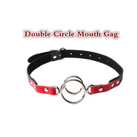 Wholesale Blow Up Christmas - Double metal circle blow job mouth stuffed gag leather mouth blocking jaw block up sex toys couple sex toys bdsm erotic toys