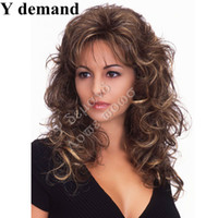 Wholesale Peruca Natural - Hot Sell Natural Wig Party Women Fashion Long Wavy Curly Costume Synthetic Hair Sexy Brown Wigs Female Peruca Pelucas