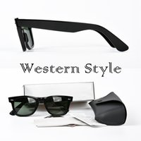 Wholesale White Sunglasses Blue - Western style Top Quality Designer Sunglasses brands classic square UV400 Vintage Mens Sunglasses for Women with case and box
