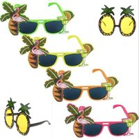 Wholesale Fancy Cocktail Party - Hawaiian Glasses Tropical COCKTAIL Hula Beach Beer Party Sunglasses Pineapple Flamingo Goggles Night Stage Fancy Party Favors CCA7585 60pcs
