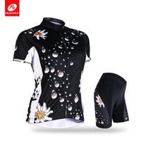 Wholesale Cycling Jersey Women Flower - NUCKILY Women's summer short sleeve cycling apparel water drop flower print road bike jersey set AJ211BK270