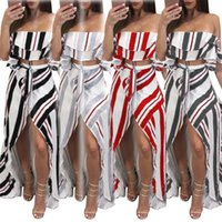 Wholesale Maxi Skirt Stripes - Women's Off The Shoulder Crop Top and Maxi Skirt Set Summer Beach Long Dress Stripe Printing Split Crack Elegant Beach Skirt 2 Pieces
