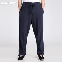 ropa tai chi xxl al por mayor-Al por mayor-Chino tradicional de los hombres de algodón de lino Kung Fu Pantalones sueltos ocasionales de vestir de Tai Chi S M L XL XXL XXXL 2601-3