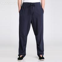 kung fu calça algodão venda por atacado-Wholesale- Chinês Tradicional dos homens de Algodão de Linho Kung Fu Calça Casual Solta Calças Compridas Tai Chi Roupas S M L XL XXL XXXL 2601-3
