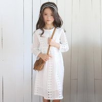 Wholesale Girls Dressess - Big Girl Lace Dress Junior Girls Hollow Out Dressess 2017 AutumnTeenager Kids Girls Long Sleeve Dress for Party Children Xmas Clothing B76