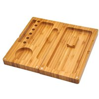 Wholesale Magnetic Bamboo - New Raw Wooden Magnetic Bamboo Backflip Rolling Tray Wooden Box Foldable 2 Layers Back Flip Magnetic Trays