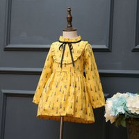 Wholesale Childrens Turtlenecks - New Spring Yellow Printed Girls Princess Dresses Childrens long sleeve Fashion cotton Cute Casual Dresses Girl Dress Kids Clothes wear A177