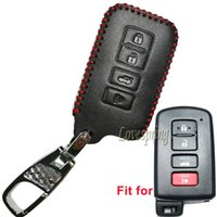 4Buttons Remote Leather Key Fob Cover Case Hoder Protector para 2015 2016 Toyota Highlander RAV4 Camry Avalon Corolla