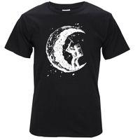 Wholesale Dig Blue - 100% cotton digging the moon print casual mens o-neck t shirts fashion men's tops men T-shirt short sleeve men tshirt 2017