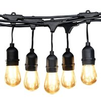 Wholesale Wholesale Led Lights Strands - Ambience Pro LED Commercial Grade Outdoor Light Strand with Hanging Sockets - Dimmable 2 Watt Bulbs - 48 Ft Market Cafe Edison Vintage Bis