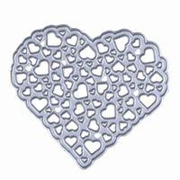 Wholesale Photo Album Diy Craft - 1Pcs Hollow Out Metal Heart Cutting Dies Stencil for DIY Scrapbooking Photo Album Embossing Decorative Craft