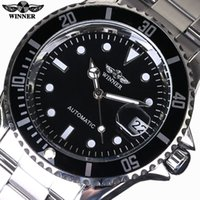 Wholesale Men Military Mechanical Watches - Top Luxury Brand WINNER Black Watch Men Casual Male Automatic mechanical Watches Business Sports Military Stainless Steel Watch