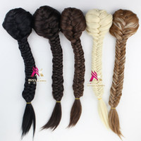 Wholesale clip long ponytail - Wholesale- 22 inch 55 cm Women long Straight braid synthetic ribbon drawstring ponytails clip in hair extensions hair piece
